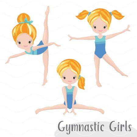 Clipart Cute Girl Gymnast Gym. Vector Illustration: Beautiful Cute Little Gymnast. Vecteurs