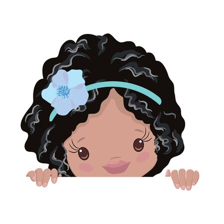 Peeking African American Little Girls Clipart. Kids Peeking Afro Girls Peekaboo Vector illustration Çizim