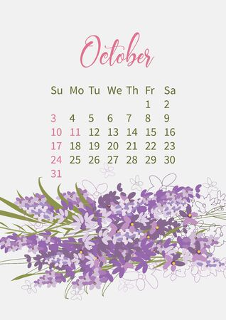 Flower Calendar 2021 with bouquets of flowers
