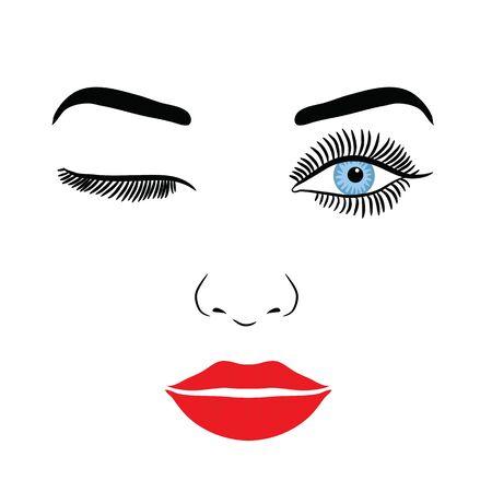 Visage de femme avec maquillage cils, yeux et lèvres sur fond blanc