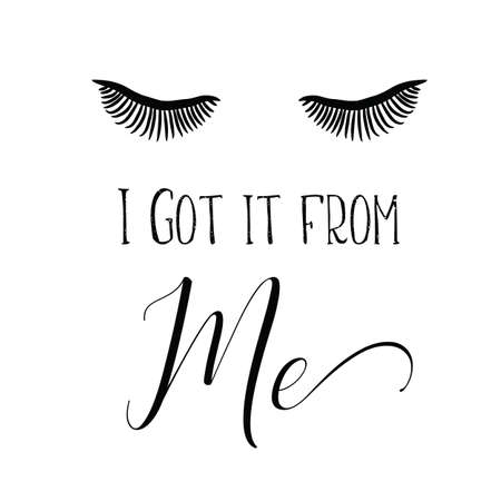 Female Face With Make-up Eyelashes, Eyes On A White Background Vector Illustratie