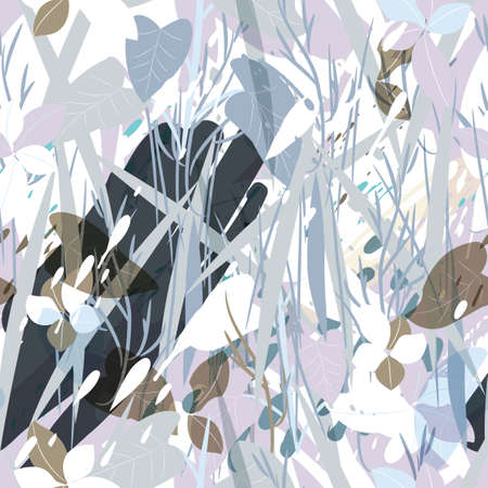 Military camouflage texture with trees, branches, grass and watercolor stains Illustration