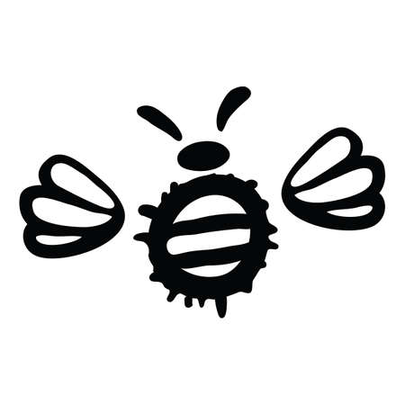 Vector Illustration Hand-drawn Silhouette Of A Bee.