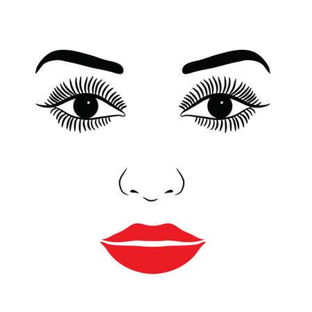 Female Face With Make-up Eyelashes, Eyes And Lips On A White Background Illusztráció