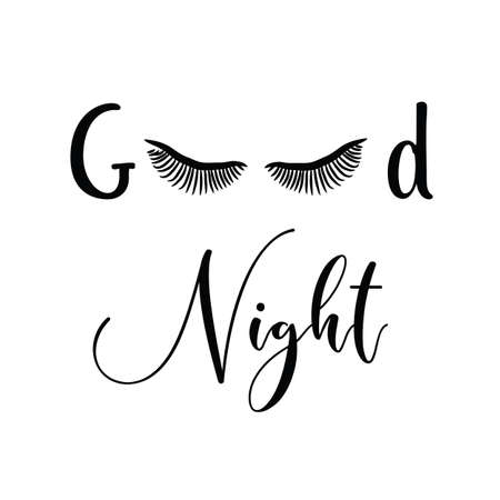 Female Face With Make-up Eyelashes, Good Night On A White Background Ilustración de vector