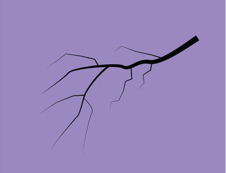 Silhouette Of A Thunder Lightning On A Lilac Background