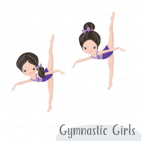 Clipart Cute Girl Gymnast Gym Ilustración de vector