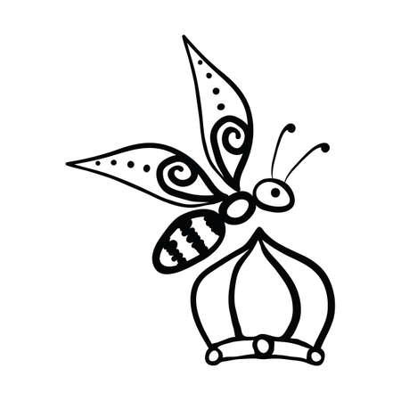 Vector Illustration Hand-drawn Silhouette Of A Bee. Vektorové ilustrace