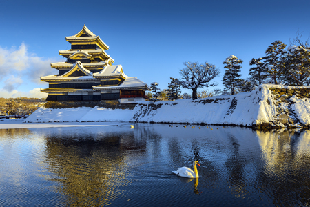 japan sky: Matsumoto Castle in Winter, Japan