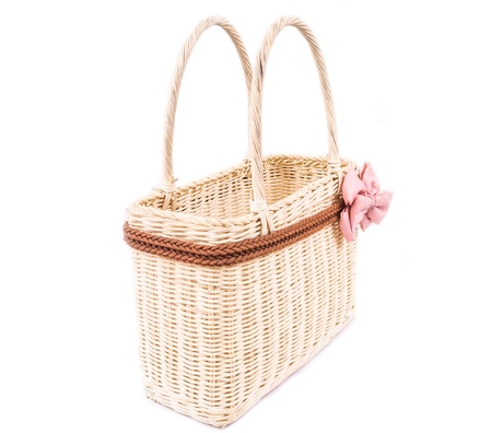 bast: Handmade basket isolated n a white background