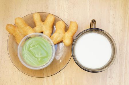 deep-fried dough stick with egg custard and soybean milk                       photo