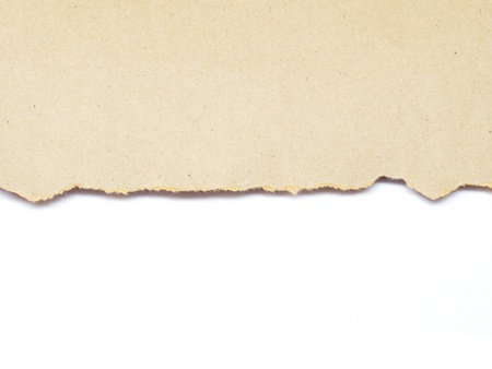 banner craft: torn brown recycle paper isolated on white background Stock Photo