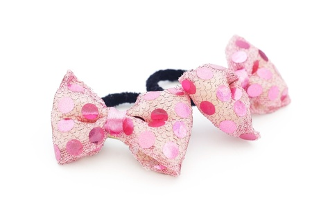 elastic band: Elastic band for hair with pink bow on white