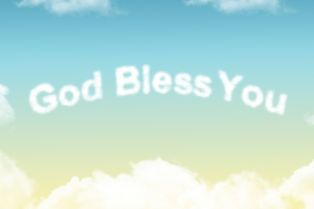 bless: God Bless You - cloud word on yellow to blue gradient background