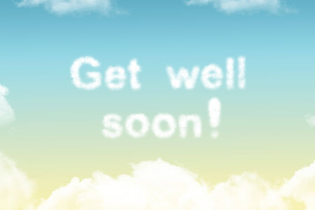 get well soon - cloud word on yellow to blue gradient Reklamní fotografie