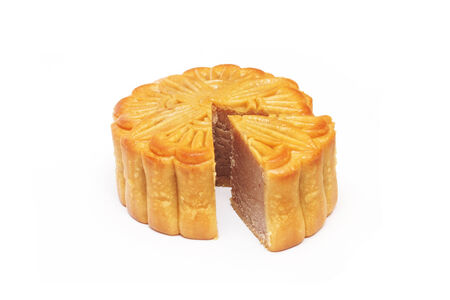 round chestnut Chinese moon cake isolated  photo