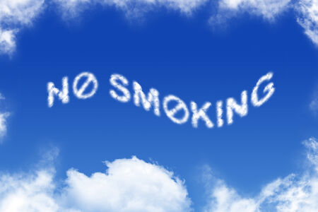 no cloud: No smoking - cloud text on blue background Stock Photo