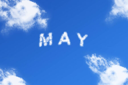 May- cloud word on blue background