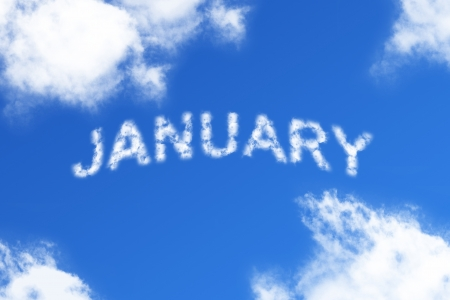 January - cloud word on blue background