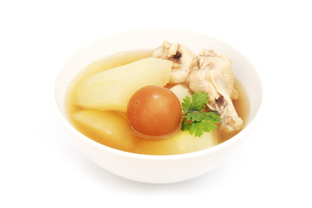 chicken soup with wax gourd and pickled lemon photo