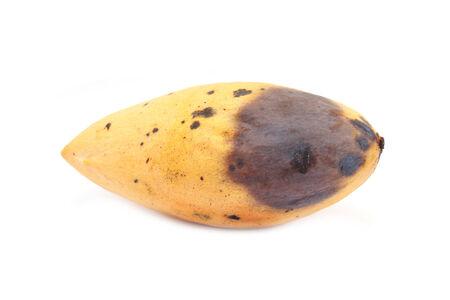 overripe: Overripe yellow mango on white background Stock Photo