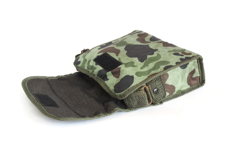 opened bag: opened old small camouflage military  bag