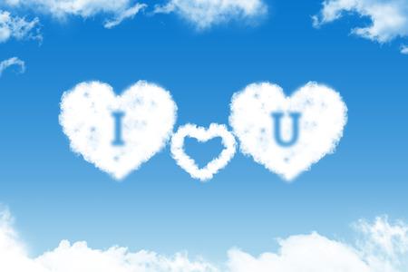 I love you - cloud text on blue sky photo