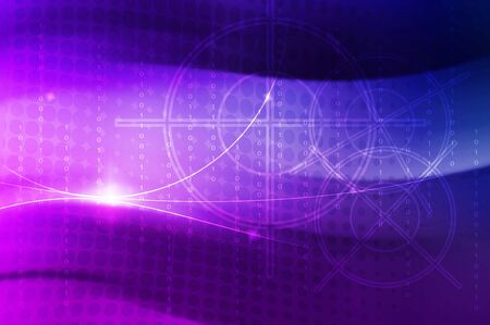 abstract purple to blue  background with binary code and circle photo