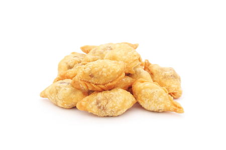 sip: fried mini curry puff  pan klip, pan sip in Thai  on white background