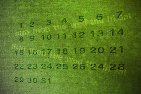 weekday: date and weekday on green grunge background