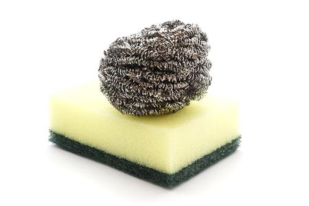 steel wool: steel wool and sponge - dishwasher on white background