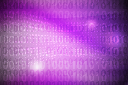 binary code on pink to violet gradient abstract background photo
