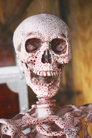 axial: axial skeleton and  blood with smiling , halloween decoration
