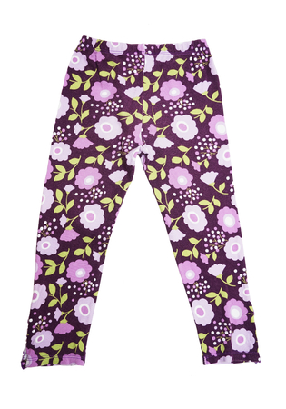 stretchy: childrens purple pants with floral pattern isolated on white background