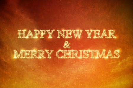 Happy new year and merry christmas word on grunge orange  abstract background photo
