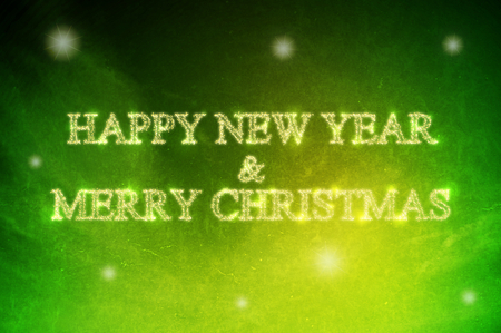 Happy new year and merry christmas word on grunge green  abstract background photo