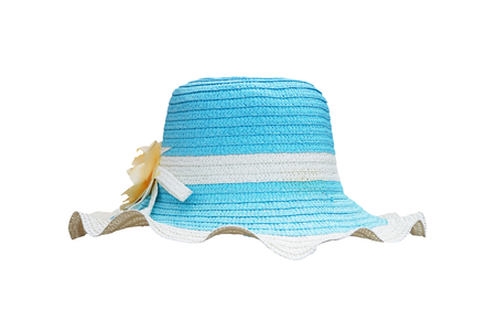 white and blue straw weave hat for lady isolated on white background Stock fotó
