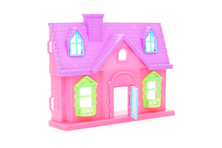 doll house: pink plastic doll house with opened door on white background Stock Photo