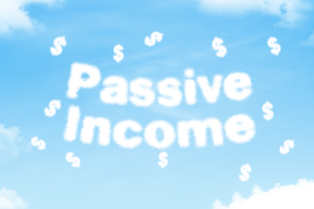 passive income: passive income - cloud text on clear blue sky