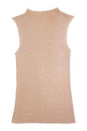 turtleneck: brown knitted sleeveless  turtleneck on white background