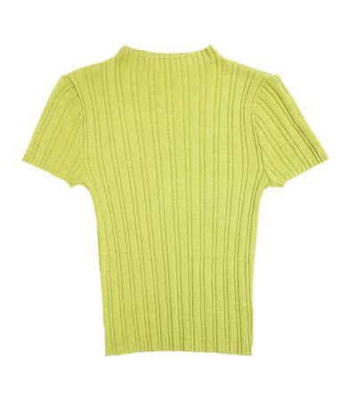 turtleneck: fresh green knitted  turtleneck on white background Stock Photo