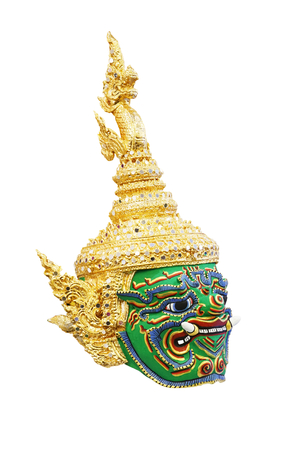 khon: giant mask in Khon Thai classical style of Ramayana Story on white background