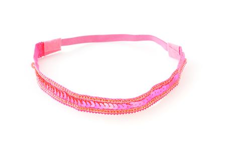 흰색 배경에 핑크색 반짝 이는 머리띠