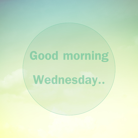 sweet good: Good morning Wednesday, text on soft pastel cloud and sky