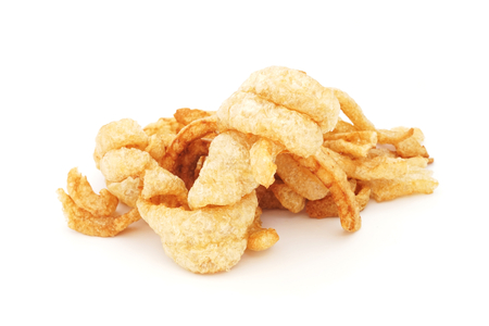 rinds: pork rinds on isolated white background