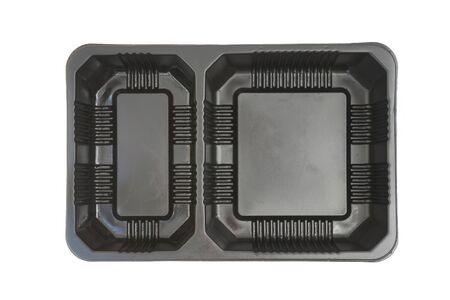 partitions: fast food black plastic tray , two cavity , on white background (top view) Stock Photo