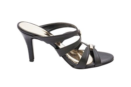opentoe: black high heel shoe for lady on white background