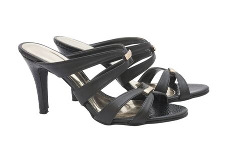 opentoe: pair of black high heel shoes for lady on white background