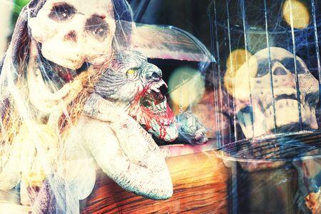 cross process: multi exposure of scary halloween background ,cross process filter Stock Photo