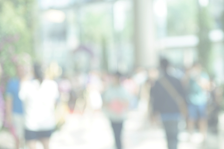 soft sell: blurred  people in shopping mall, pastel style